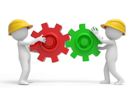 Twee 3d veiligheid van de werknemers die de puzzels