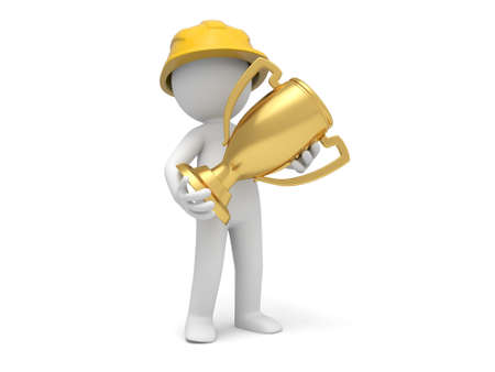 protective clothing: A 3d safety worker holding a gold trophy