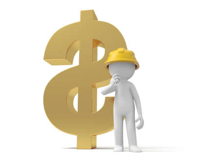 protective clothing: A 3d safety worker standing , a dollar model background