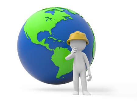 A 3d safety worker standing, a global background photo