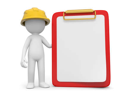 maintenance technician: A 3d safety worker standing besides a message board