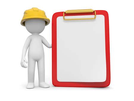 veiligheid bouw: Een 3d veiligheid werknemer staan naast een message board