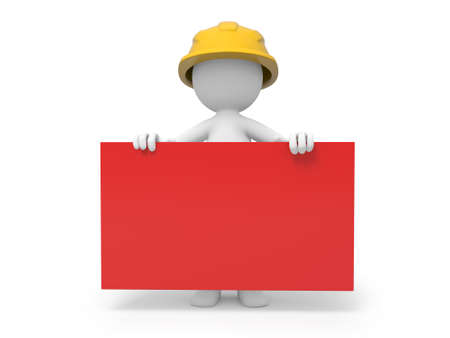 repairman: A 3d safety worker holding a red board