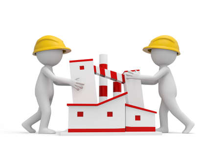 Two 3d safety workers pushing a building photo