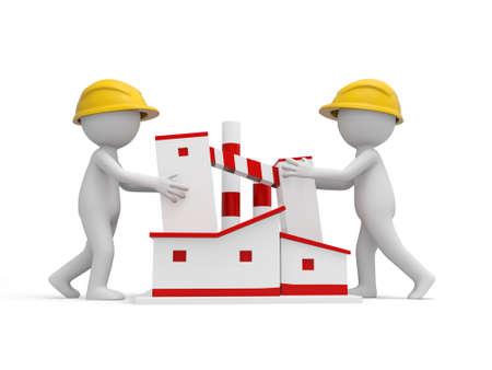 Zwei 3D-Sicherheit Arbeiter drängen ein Gebäude Standard-Bild - 21449900