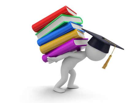 Ein 3D-Bachelor mit einem Stapel der Bücher Standard-Bild - 21450126