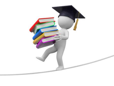 Ein 3D-Bachelor mit einem Stapel Bücher in der Hand, die entlang dem Seil Standard-Bild - 21450157