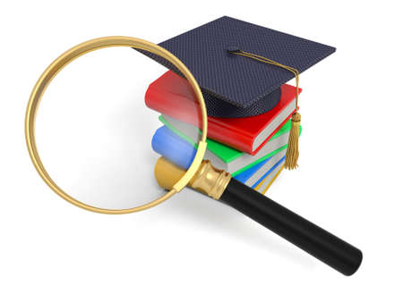 mortar board: A 3d magnifying glass  a stack of books  a bachelors hat