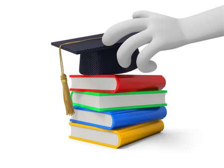 Ein 3D-Hand einen Bachelor-Hut ein Stapel Bücher Standard-Bild - 21450194