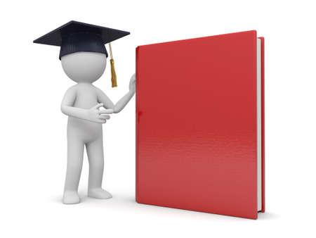 academic achievement: A 3d bachelor standing besides a book