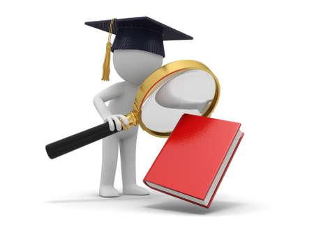 Ein 3D-Bachelor gerade ein Buch mit einer Lupe Standard-Bild - 21450224