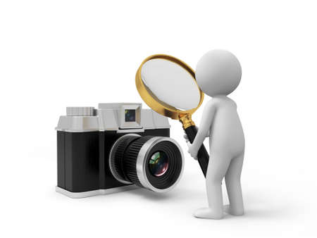 A 3d people watching the camera with a magnifying glass photo