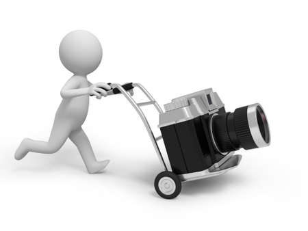 A 3d people pushing a cart, a camera on the cart photo