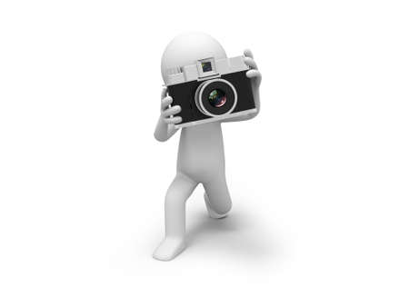 A 3d people taking a picture with a camera photo