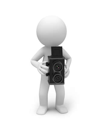 analogs: A 3d people taking a picture with a vintage camera Stock Photo