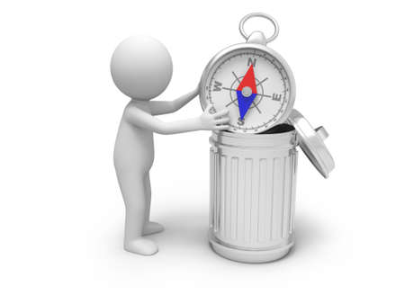 A 3d person throwing a compass into a garbage can photo