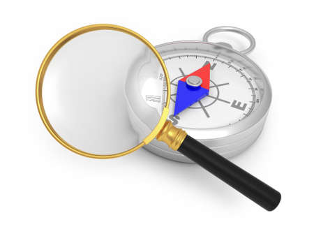 A magnifying glass  a compass  gold watch photo