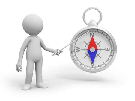 A 3d person pointing at the compass with a stick photo