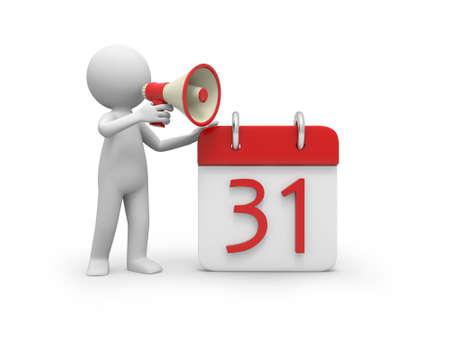 kalender: Ein 3d Person im Gespr�ch mit einem Lautsprecher neben einem Kalender