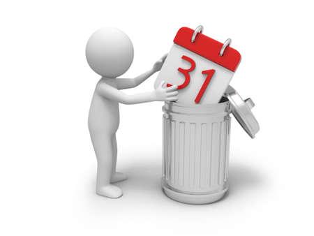 A 3d person throwing a calendar into a garbage can photo