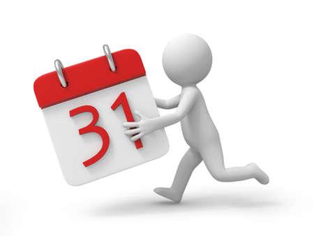day calendar: A 3d person running with a calendar in hand