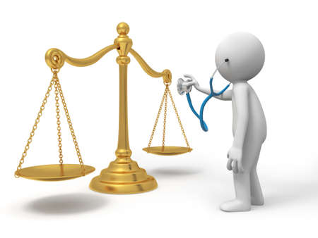 small scale: A 3d person watching a scale with a stethoscope