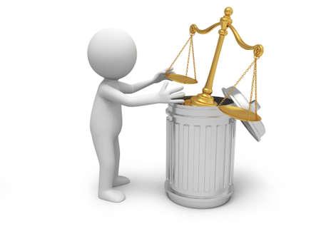 small scale: A 3d person throwing a scale into a garbage can