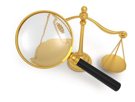 A magnifying glass  a scale 3d justice Stock Photo