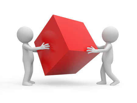 cube box: Two 3d people holding a red cube