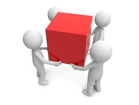 organization structure: A few 3d people standing hand in hand around a cube
