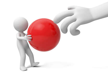 A 3d people taking a red ball to a hand photo