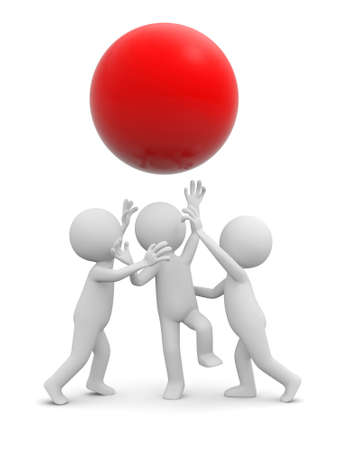 Three 3d people snatching a red ball photo