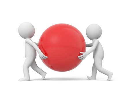 Two 3d people carrying a red ball photo