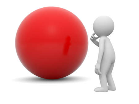 A 3d people thinking face to a red ball photo