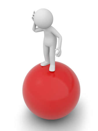 A 3d people standing on a ball, thinking photo