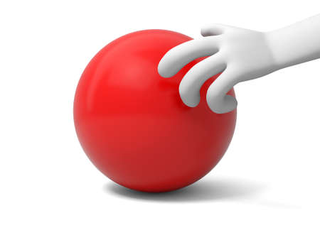 A 3d hand taking a red ball photo