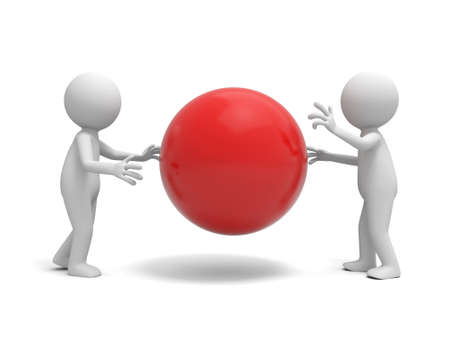 Two 3d people talking around a red ball photo