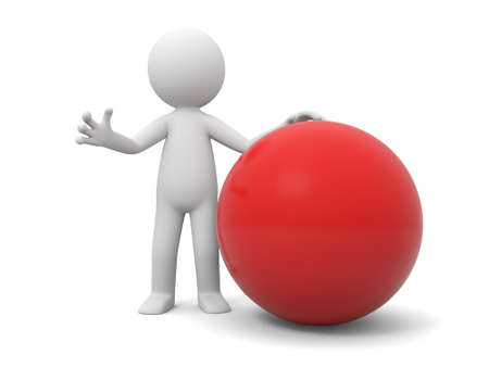 A 3d people standing besides a red ball photo