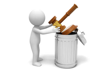 Een 3d persoon gooien van een hamer in een prullenbak