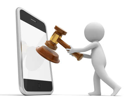 legality: A 3d person putting a gavel into a mobile phone auction online Stock Photo