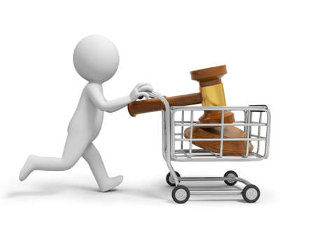 arbitrate: A 3d person pushing a shopping cart, running
