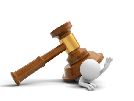 courtroom: A 3d person pressed by a gavel