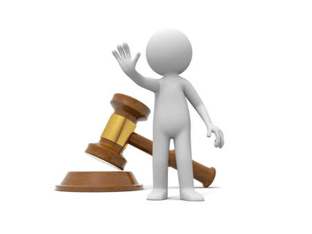 """A 3d person making a """"stop"""" gesture back to a gavel"""