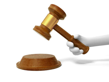 A 3d hand taking a gavel, knocking Stock Photo