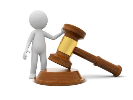 legality: A 3d person standing beside a gavel Stock Photo