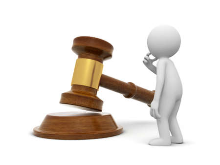A 3d people standing face to a gavel, thinking