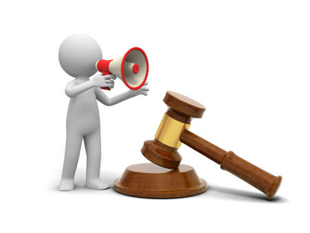 court symbol: A 3d person talking with a speaker face to a gavel