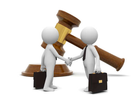 courtroom: Two 3d people shaking hands , a gavel background