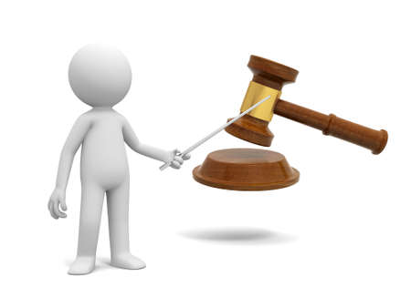 A 3d people pointing at a gavel with a stick