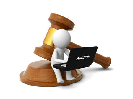 judge hammer: A 3d people working back to a gavel Stock Photo